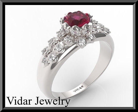 Amazing Red Ruby And Diamond 14k White Gold Engagement Ring Jewelry