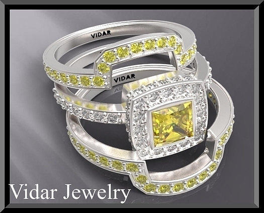 Amazing Yellow Sapphire And Diamond 14k White Gold Wedding Ring Set Jewelry