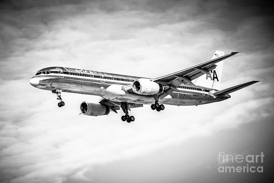 Amercian Airlines 757 Airplane In Black And White Photograph  - Amercian Airlines 757 Airplane In Black And White Fine Art Print