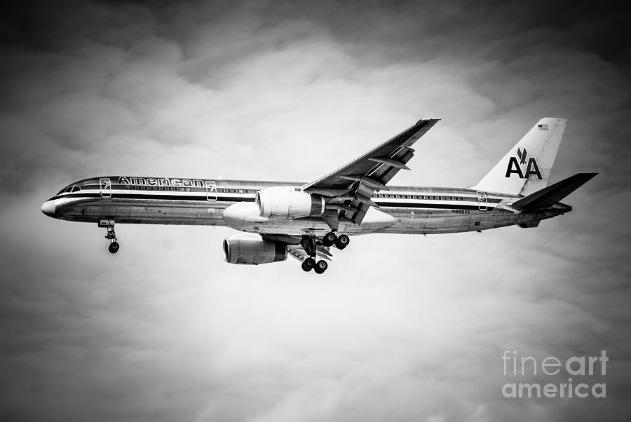 Amercian Airlines Airplane In Black And White Photograph  - Amercian Airlines Airplane In Black And White Fine Art Print