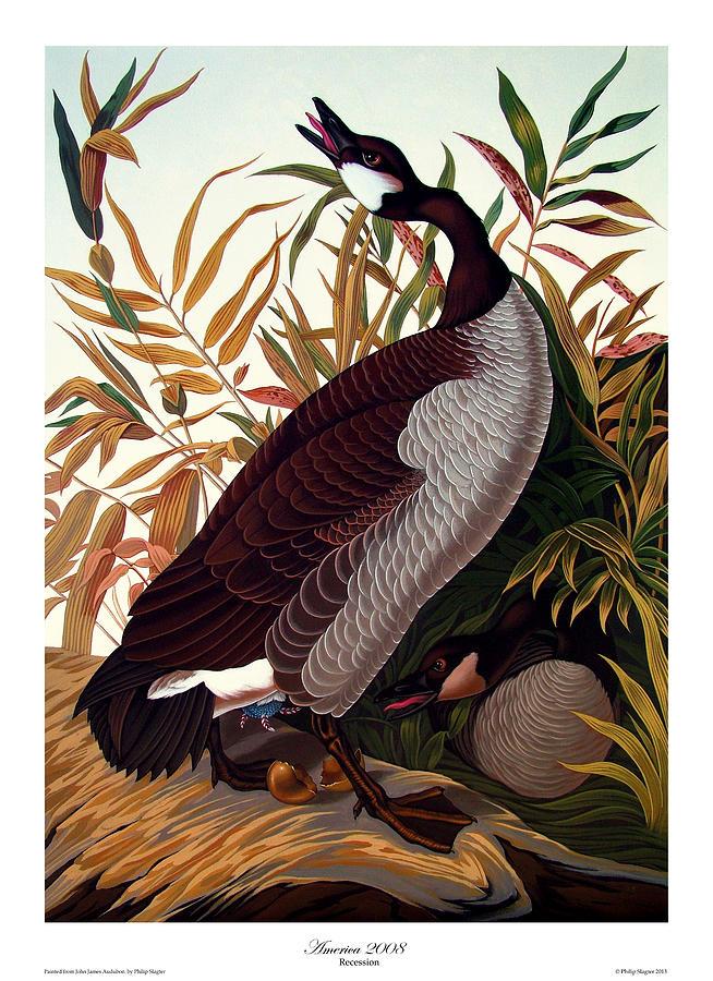 Geese Painting - America 2008 by Philip Slagter