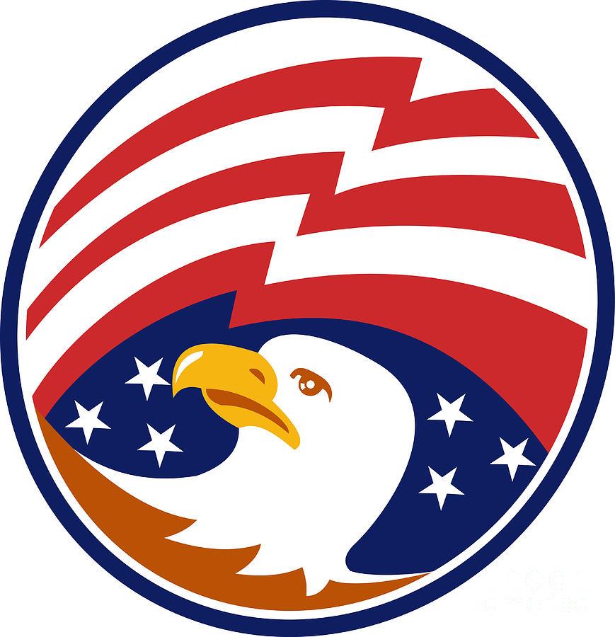 American Bald Eagle With Flag Digital Art