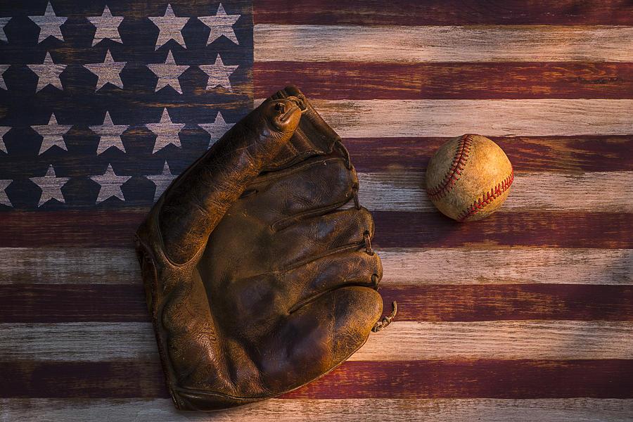Old Mitt Photograph - American Baseball by Garry Gay