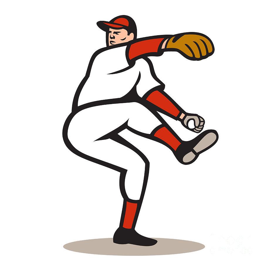 American Baseball Pitcher Throwing Ball Cartoon Digital Art