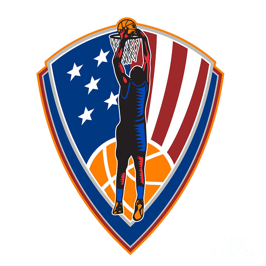 American Basketball Player Dunk Ball Shield Retro Digital Art  - American Basketball Player Dunk Ball Shield Retro Fine Art Print