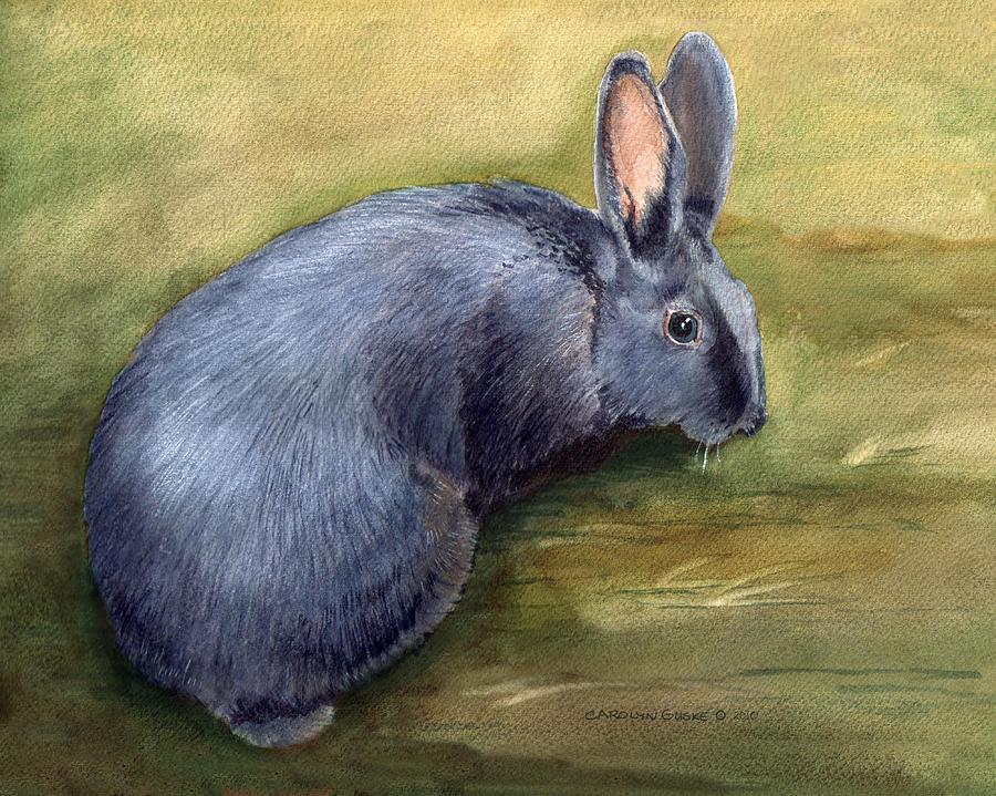 American Blue Rabbit Painting by Carolyn Guske