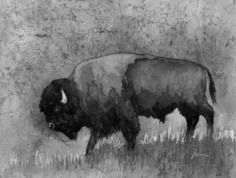Curtains Ideas batik shower curtain : Monochrome American Buffalo 3 is a painting by Hailey E Herrera which ...