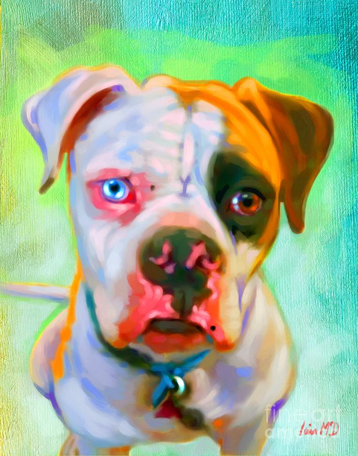 American Bulldog Art Painting