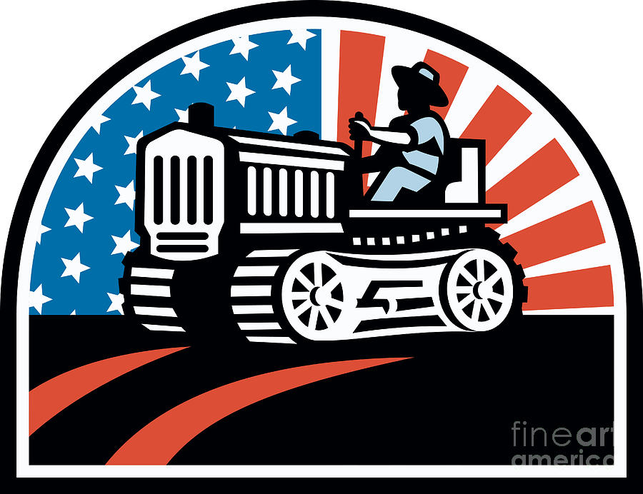 American Farmer Riding Vintage Tractor Digital Art  - American Farmer Riding Vintage Tractor Fine Art Print