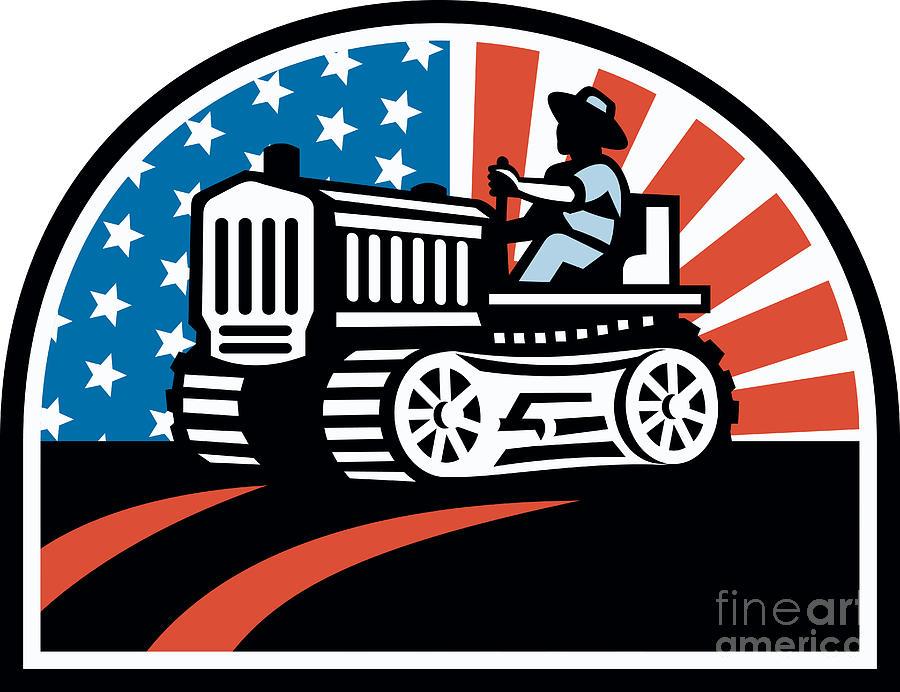 Farming Digital Art - American Farmer Riding Vintage Tractor by Aloysius Patrimonio