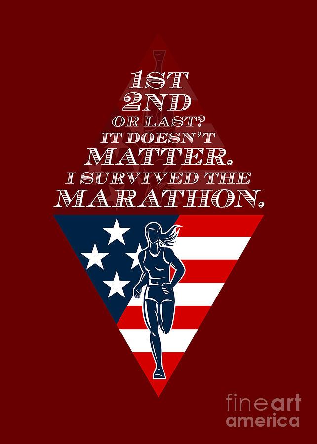 American Female Marathon Runner Retro Poster Digital Art