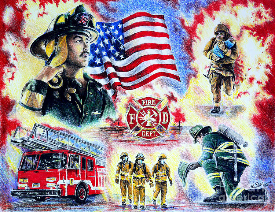 Firefighter Drawing - American Firefighters by Andrew Read