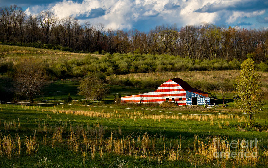 American Flag Barn Photograph