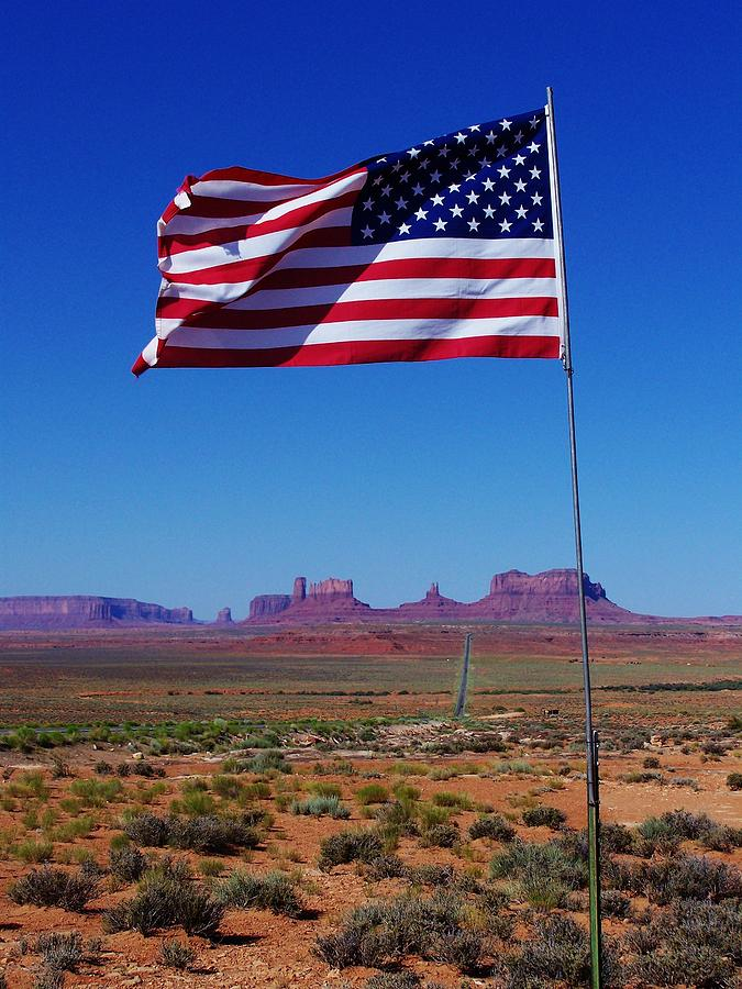 American Flag In Monument Valley Photograph  - American Flag In Monument Valley Fine Art Print