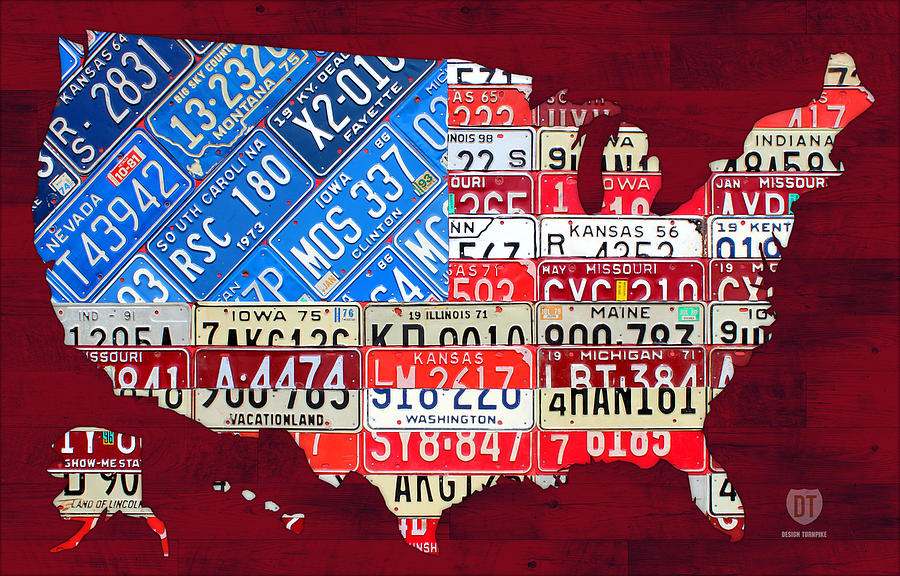 American Flag Map Of The United States In Vintage License Plates Mixed Media
