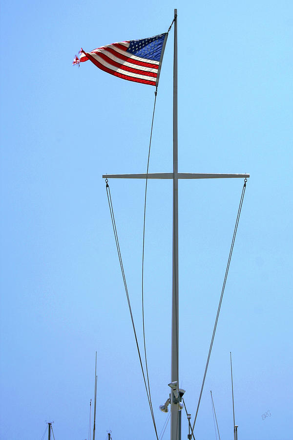 American Flag On Mast Photograph  - American Flag On Mast Fine Art Print