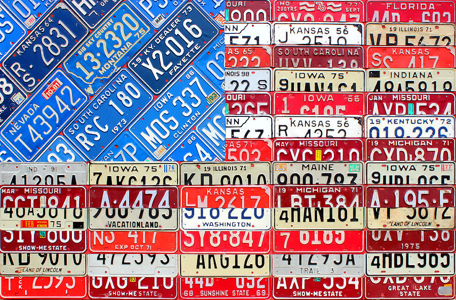 American Flag Recycled License Plate Art Mixed Media