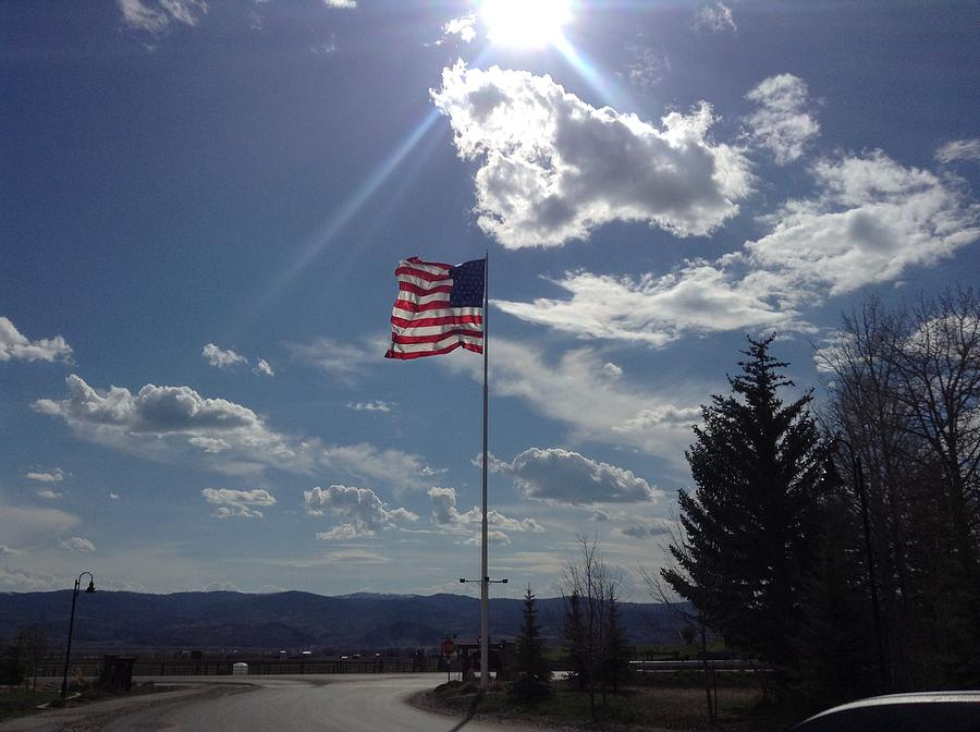 American Flag Photograph - American Flag Waving In The Sunrays by Shawn Hughes