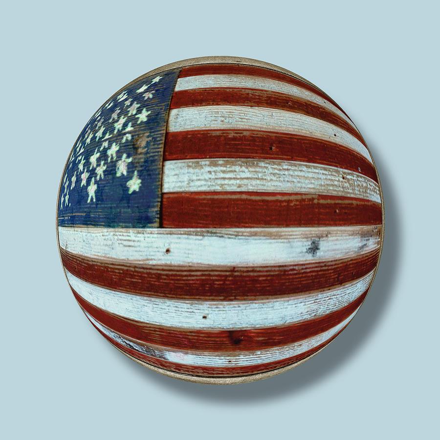 American Flag Painting - American Flag Wood Orb by Tony Rubino