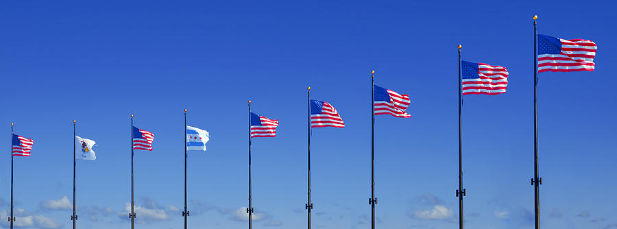 American Flags On Chicagos Famous Navy Pier Photograph