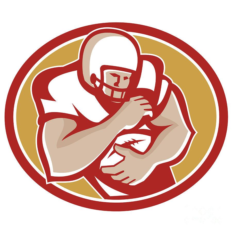 American Football Running Back Oval Retro Digital Art