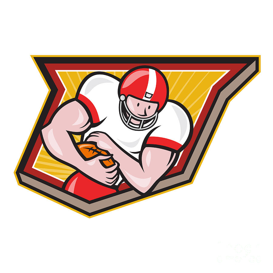 American Football Running Back Run Shield Cartoon Digital Art