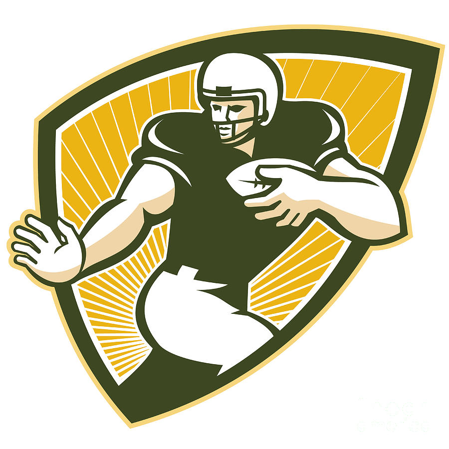 American Football Running Back Shield Digital Art  - American Football Running Back Shield Fine Art Print