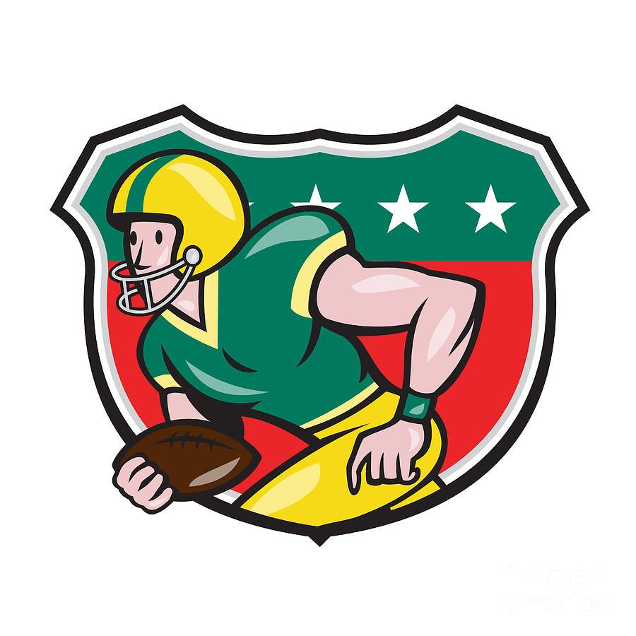 American Football Wide Receiver Running Ball Shield Digital Art