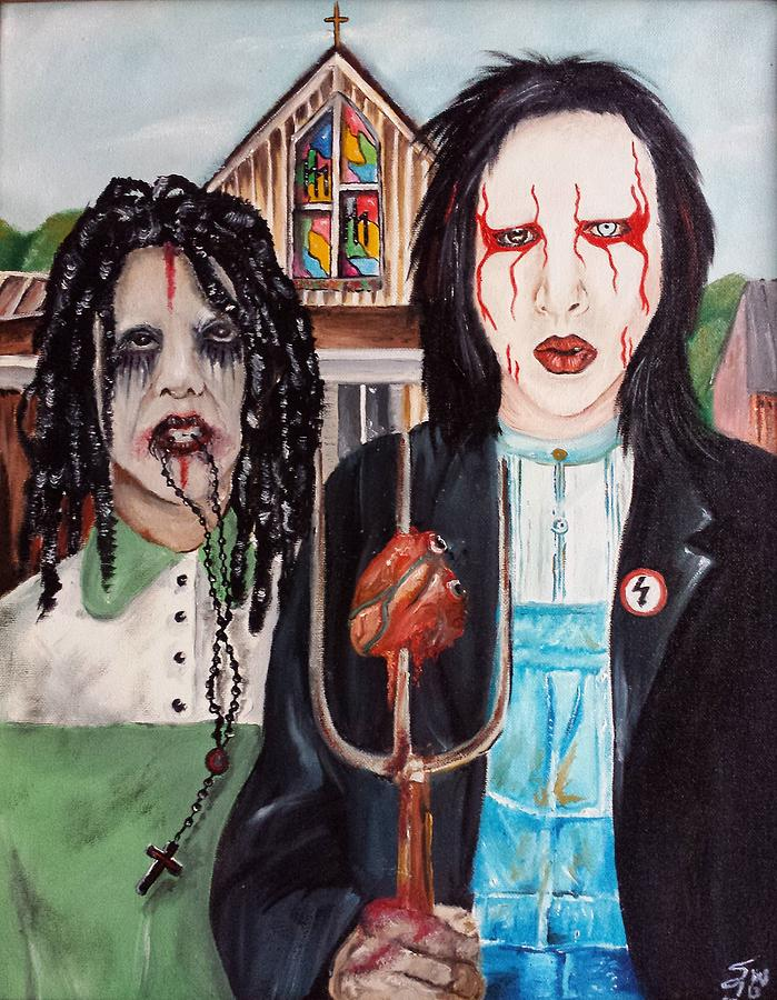 American Gothic Goth Marilyn Manson Twiggy Music Rock Guitar Painting Oils Instruments Sing  Painting - American Goth by S G Williams