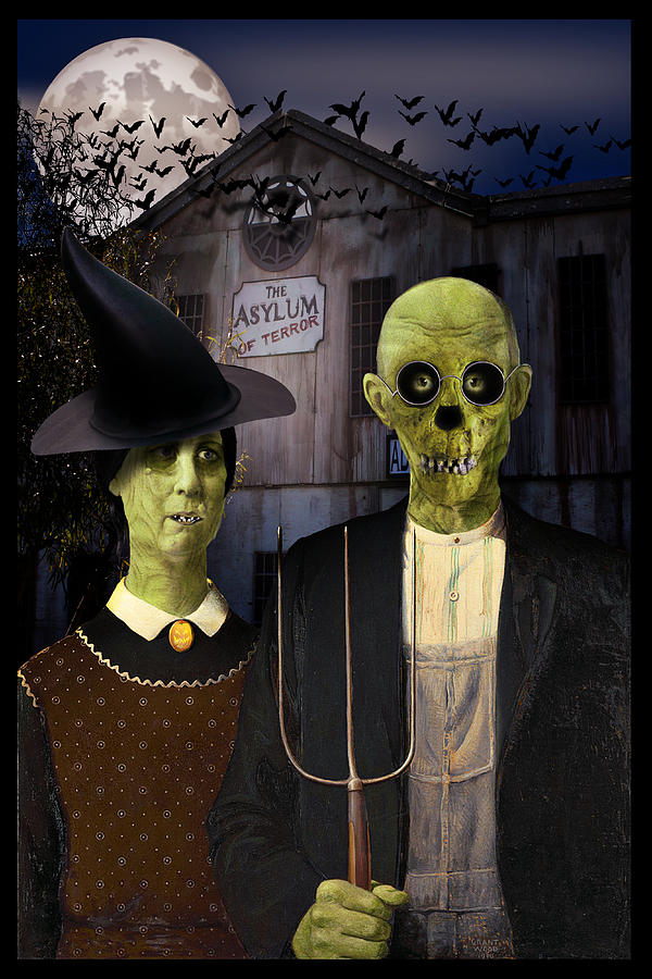 American Gothic Halloween Digital Art
