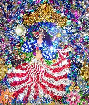 American Gypsy Queen Beadwork With Crystals Painting