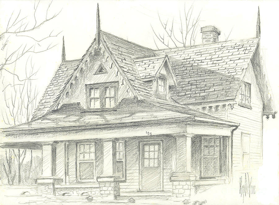 American Home Drawing  - American Home Fine Art Print