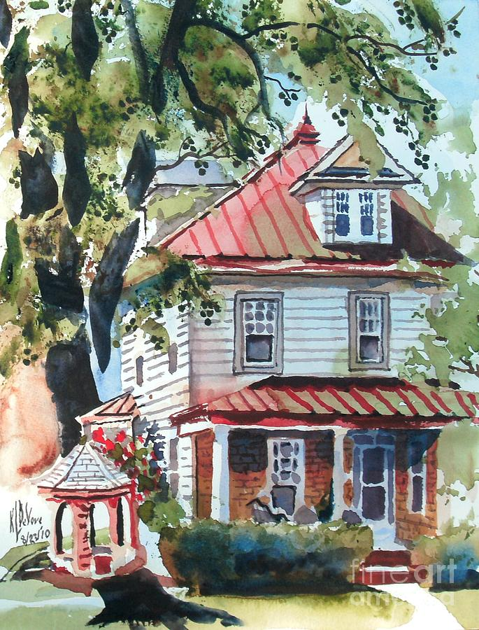 American Home With Childrens Gazebo Painting  - American Home With Childrens Gazebo Fine Art Print