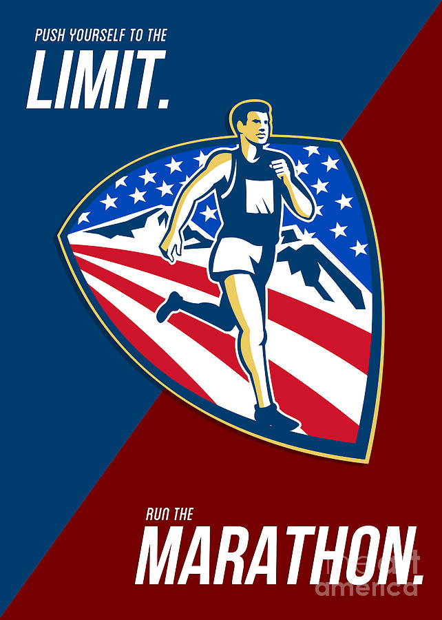 American Marathon Runner Push Limits Retro Poster Digital Art