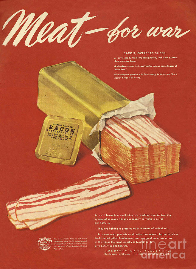 American Meat Institute 1950s Usa Bacon Drawing