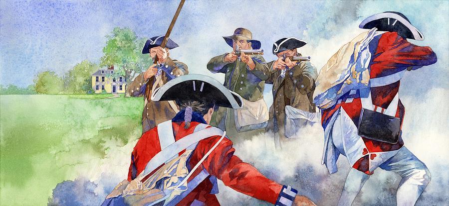 American Militiamen At Lexington Painting