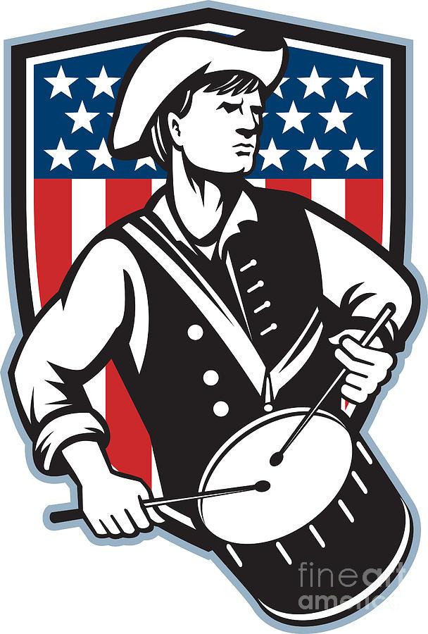 American Patriot Drummer With Flag Digital Art