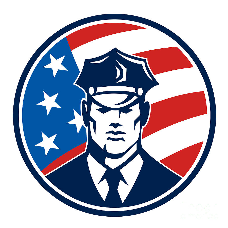 American Policeman Security Guard Retro Digital Art