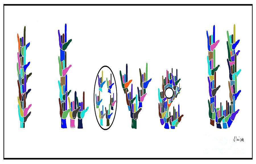 American Sign Language I Love You On White Painting