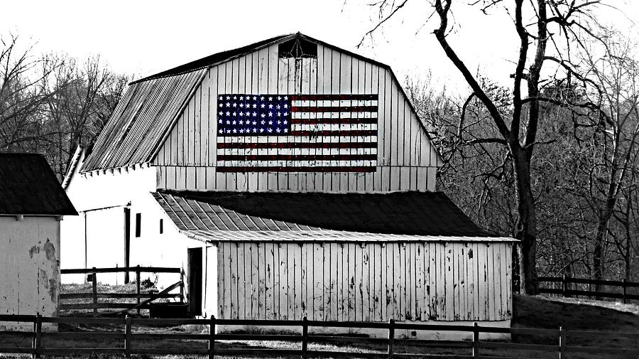 Americana Trish Clark Barn Barns Rural County Amish American  Flag Usa Wooden Barn Country Setting Photograph - Americana by Trish Clark