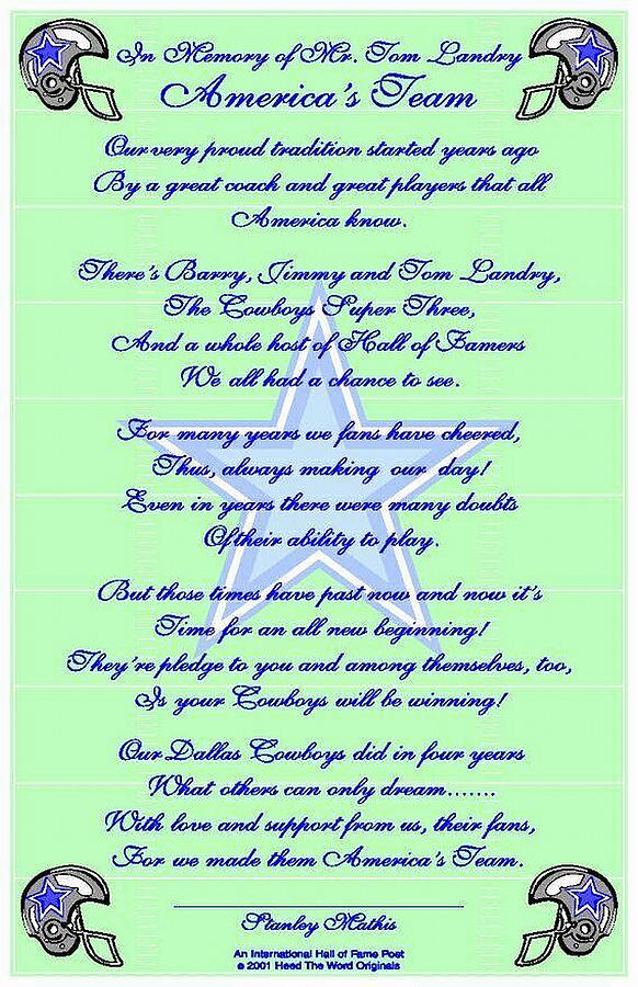 Appraised Dallas Cowboys Fans Posters Digital Art - Americas Team Poetry Art Poster by Stanley Mathis