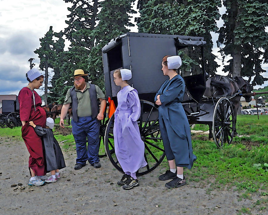 Amish Family Travelers Photograph  - Amish Family Travelers Fine Art Print