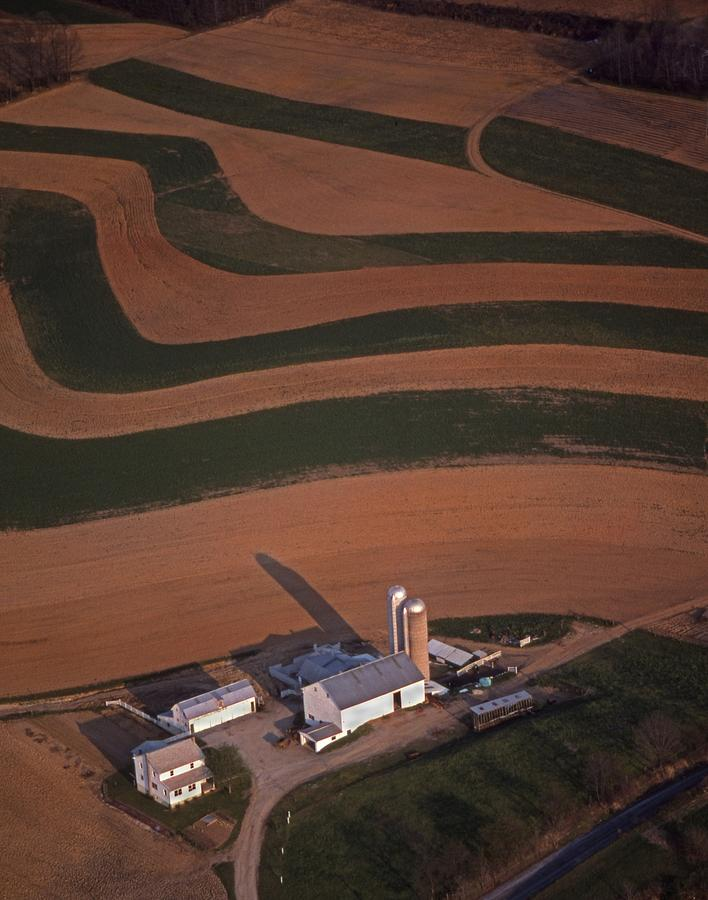 Amish Farm And Field Aerial Photograph