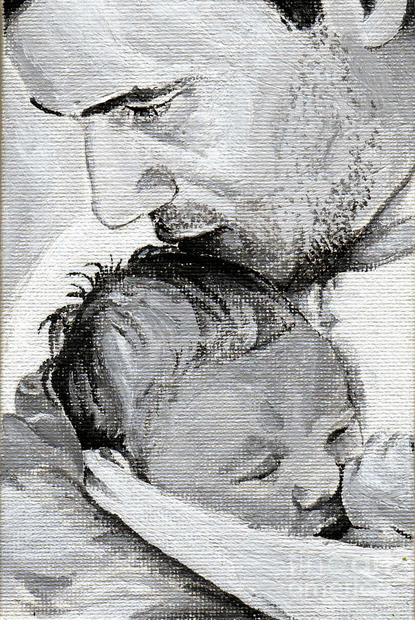 Father Painting - Amit And Mika by Tamir Barkan