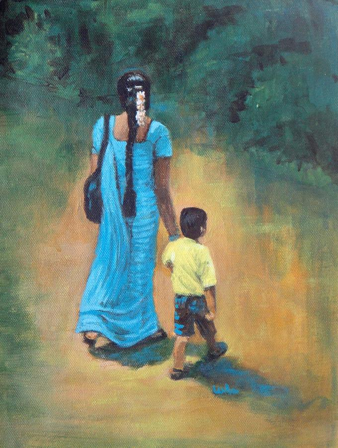 Amma Grip Leads.amma Guides Painting - Ammas Grip Leads. by Usha Shantharam