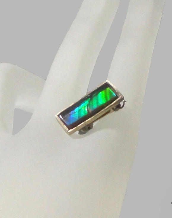Ammolite 14k Solid Gold Pin And Bezel  Jewelry