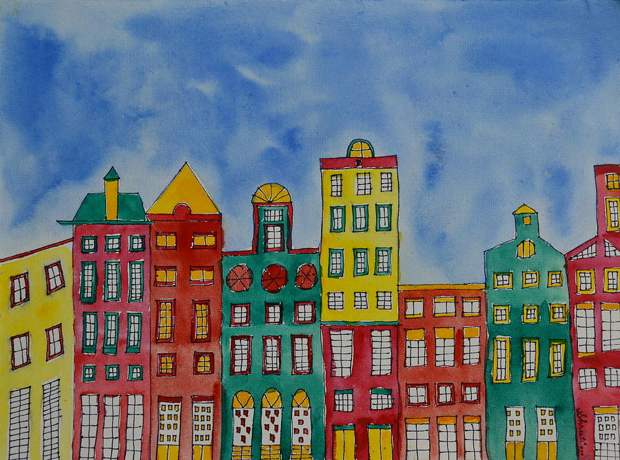 Amsterdam Houses is a painting by Shruti Prasad which was uploaded on ...