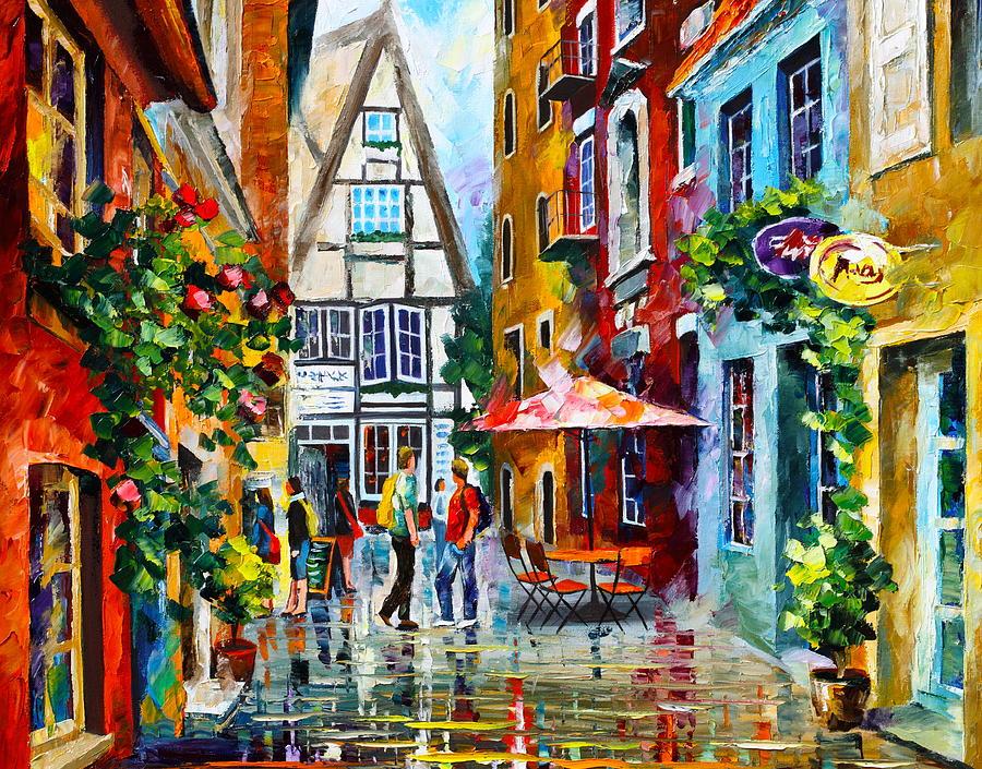 Afremov Painting - Amsterdam Street by Leonid Afremov