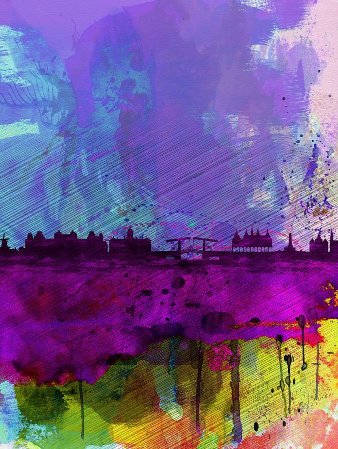 Amsterdam Watercolor Skyline Painting