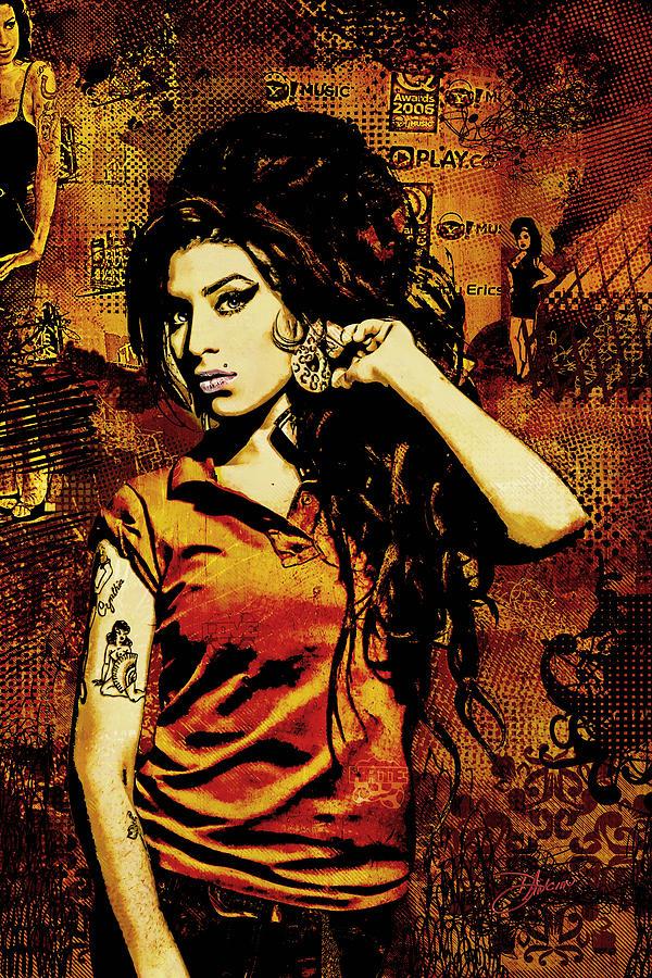 Amy Winehouse. Orange Digital Art - Amy Winehouse 24x36 Mm Reg by Dancin Artworks